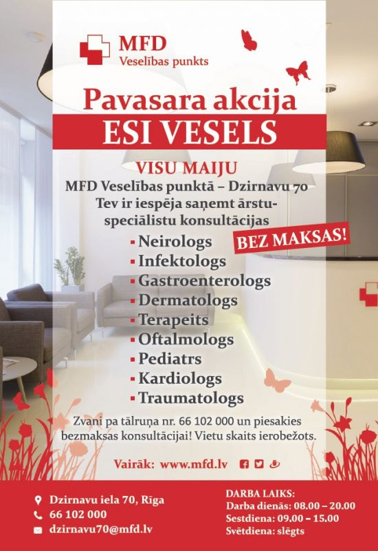 Spring Campaign Doctors Consultations Free Of Charge At The MFD Health Point Dzirnavu 70
